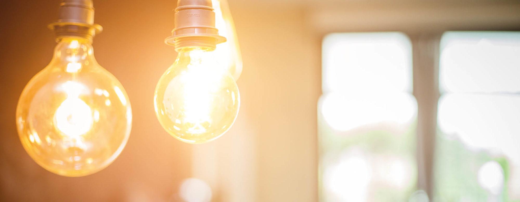 Darstellung von Leuchtmitteln in einem Raum.