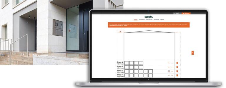 Eine Software auf dem Computer hilft beim Gebäudemanagement. Es wird eine schematische Übersicht über die Etagen eines Gebäudes gezeigt.