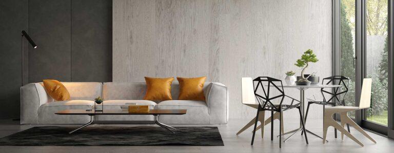 Modernes Wohnzimmer mit Stehleuchte in dezentem Design.